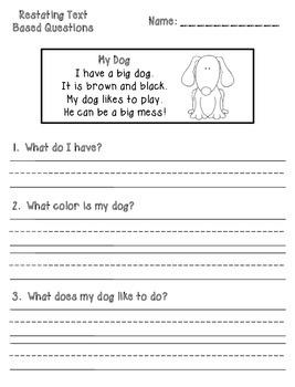 Text Based Comprehension Question Printables - Kindergarte