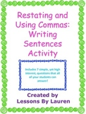 Restating Questions and Using Commas: Writing Sentences Activity