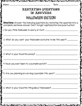 Restating Questions Halloween Edition (Answering in Complete Sentences)