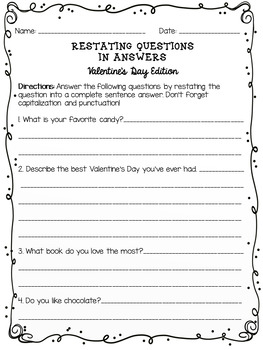Restating Questions: Valentine's Day Edition (Answering in Complete Sentences)