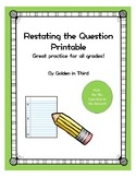 Restating the Question Printable Activity RAPP RACE