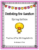 Restating the Question Printable Activity Spring Writing RAPP RACE