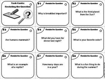 Restating the Question Task Cards 2nd 3rd 4th Grade Ask and Answer Questions