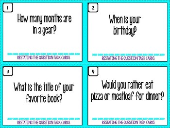 Restating the Question Task Cards
