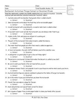 Restaurant Activities-Things Correct-Incorrect Exam