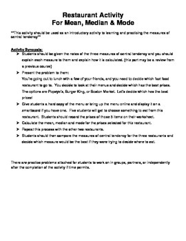 Restaurant Activity for Mean, Median & Mode
