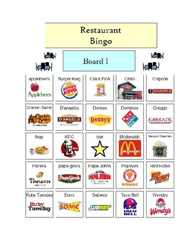 Restaurant Bingo - 5 Boards picture support / with visuals PDF
