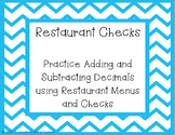 Restaurant Checks - Adding and Subtracting Decimals Task Cards TEKS 5.3K
