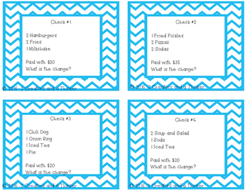 Restaurant Checks - Adding and Subtracting Decimals Task Cards TEKS 5.3K