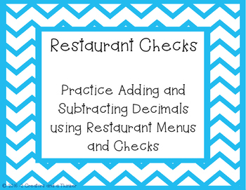 Restaurant Checks - Adding and Subtracting Decimals Task Cards