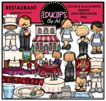 Restaurant Clip Art Bundle {Educlips Clipart}