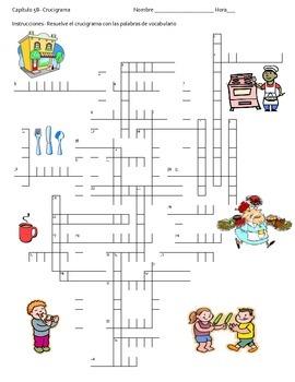 Restaurant Crossword Puzzle (Realidades B Ch. 5B)