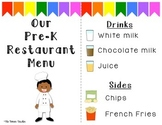 Restaurant Dramatic Play Menu