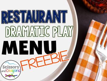 Restaurant Dramatic Play Menu Freebie