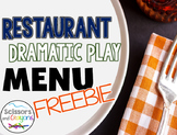 Restaurant Dramatic Play Menu Freebie