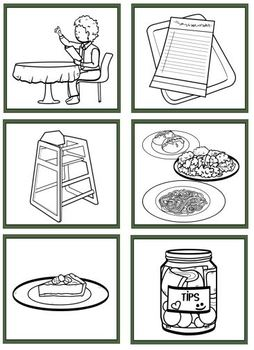 Restaurant File Folder and Flashcards