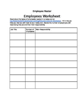 Restaurant Manager Project: Employee Sheet
