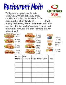 Restaurant Math for Primary Grades Volume 2