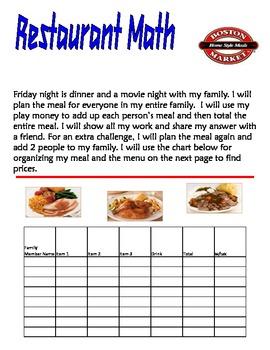 Restaurant Math for Primary Grades Volume 3