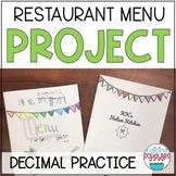 Restaurant Menu Math Project Adding and Multiplying Decimals