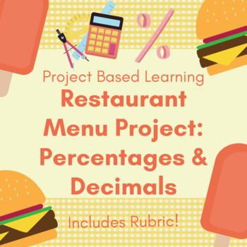 restaurant menu project percentages decimals project rubric
