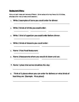 Restaurant Menu Questions