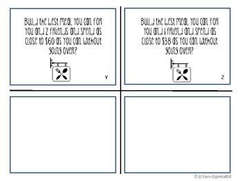 Restaurant Menu Task Cards