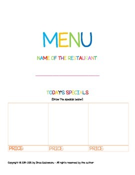 Restaurant Menu for Pretend Play
