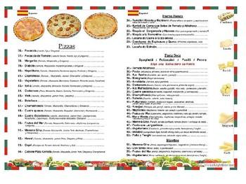 Restaurant Menus in Spanish