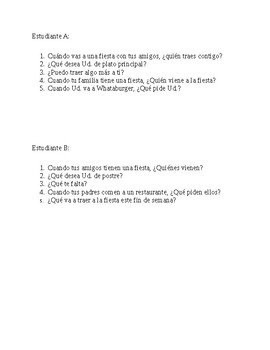Restaurant/Party Partner Speaking - Realidades 1 Ch. 5B
