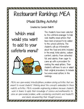 Restaurant Rankings MEA (Model Eliciting Activity)