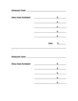 Restaurant Receipt Template