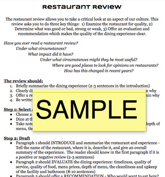 Restaurant Review Handout