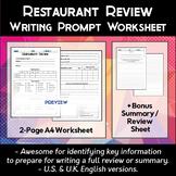 Restaurant Review Worksheet