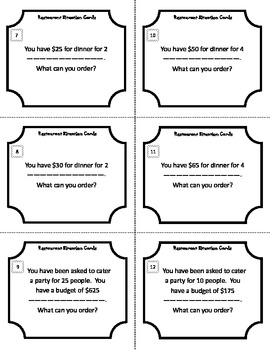 Restaurant Situations with Decimals Task Cards (5.NBT.A.3, 5.NBT.B.7, 6.NS.B.3)