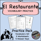 Restaurant Spanish Vocabulary Worksheets (Así Se Dice Lev