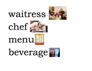 Restaurant Theme Word Wall Cards