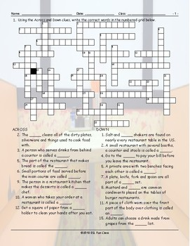 Restaurant Things-Activities Crossword Puzzle