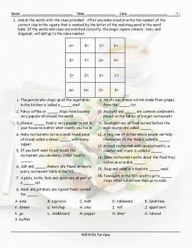 Restaurant Things-Activities Magic Square Worksheet