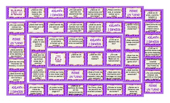 Restaurant Things and Activities Spanish Board Game