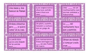 Restaurant Things and Activities Spanish Card Game