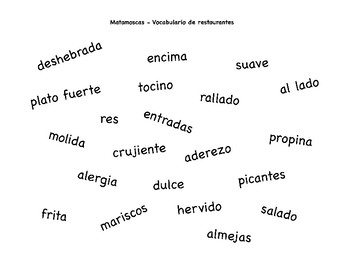 Restaurant Vocabulary Matamoscas Game