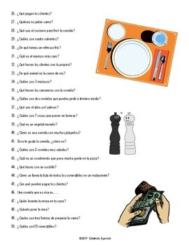 Restaurant Vocabulary Questions Game (Asi Se Dice II Chapter 4)