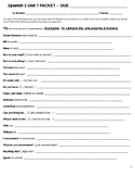 Restaurant Vocabulary and Grammar Packet of Worksheets