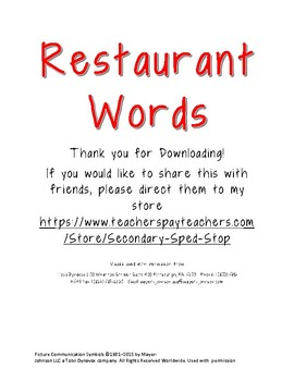 Restaurant Word Wall with Pictures