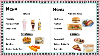 Restaurant Writing Center 50's Diner! Literacy, Reading, Writing and Food