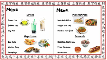 Restaurant Writing Center Chinese! Literacy, Reading, Writing and Food