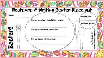 Restaurant Writing Center Easter! Reading Writing Vocabulary Spring Holiday Food