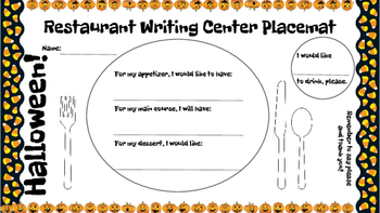 Restaurant Writing Center Halloween! Literacy, Reading, Writing and Food