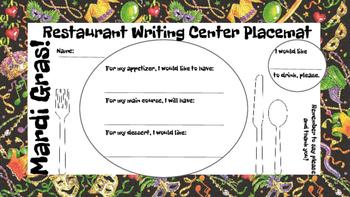 Restaurant Writing Center Mardi Gras! Literacy, Reading, Writing and Food